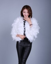 Women Shrug Faux Feathers 3/4 Long Sleeves Bolero Wedding Jacket Fur Capes White/Red/Black/Pink /Gray/Burgundy Bridal Wrap
