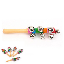 Wooden Hand Rainbow Musical Instrument Toy Jingle Ring Bell Rattle Baby Kid Gift  Children's Day Festival Party Supplies