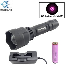 (FBC) ~ DanceLite C8z Zoom in/out IR 940nm 4-Core 1Mode Night Vision IR Flashlight + Battery + Charger