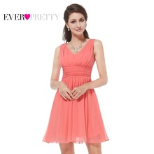 Women Clothing HE03909 Ever Pretty 2017 Elegant Sleeveless Red Blue Coral Black Purple V-neck Short Party Cocktail Dress(China)