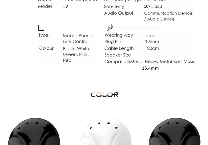 UiiSii U2 Bass Noise Isolating In-ear Earbuds Earphones with Mic and Volume Control For iphone Xiaomi and Music Player