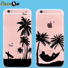New Summer Sandy Beach Case for coque iPhone 7 6 6s Plus 5 5SE Soft Transparent Silicone Cover Landscape Sea Case Capa Capinhas