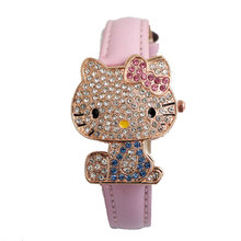 Hot Sales Lovely Hello Kitty Watch Children Girl Women Bling Crystal Dress Quartz Wristwatch Relogio Feminino 048-28(China)