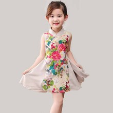 Girl dress 2017 brand summer princess dress children's clothing cheongsam collar design flower flower for girl's clothing