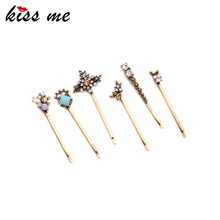 KISS ME 6 PCS /SET Geometric Rhinestone Barrettes 2016 New Trending Women Hair Jewelry Accessores