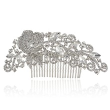 BELLA Charm Vintage Inspired Flower Drop Hair Comb Pins With Rhinestone Austrian Crystal Wedding Hair Combs Accessories Bridal