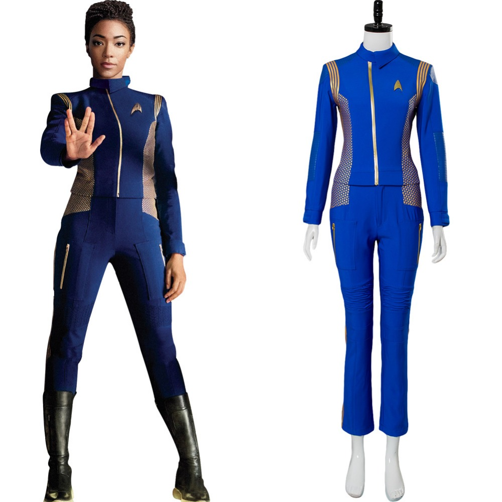 Star Trek Discovery Cosplay Michael Burnham Cosplay Costume Womens Crewman Sets Uniform Startrek Discovery Uniform Blue Suits