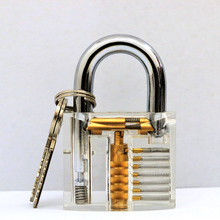 2016 Cutaway Transparent Lock Training Skill Professional Visable Practice Padlocks Lock Pick For Locksmith With Two Keys(China)