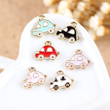 Free Shipping 50PCS 13*12MM Cartoon Cute Car Enamel Charms Kawaii DIY Jewelry Phone Chain Keyring Floating Oil Drop Metal Charms