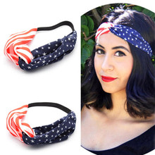 Women American Flag Print Sports Yoga Sweatband Gym Stretch Headband Hair Band American flag Headband #30(China)