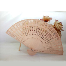 100PCS Wedding Folding Hand Fan Personalized Wedding Favor And Gift For Guests Wooden Hollow Out Sandalwood Fan Custom Name&Date