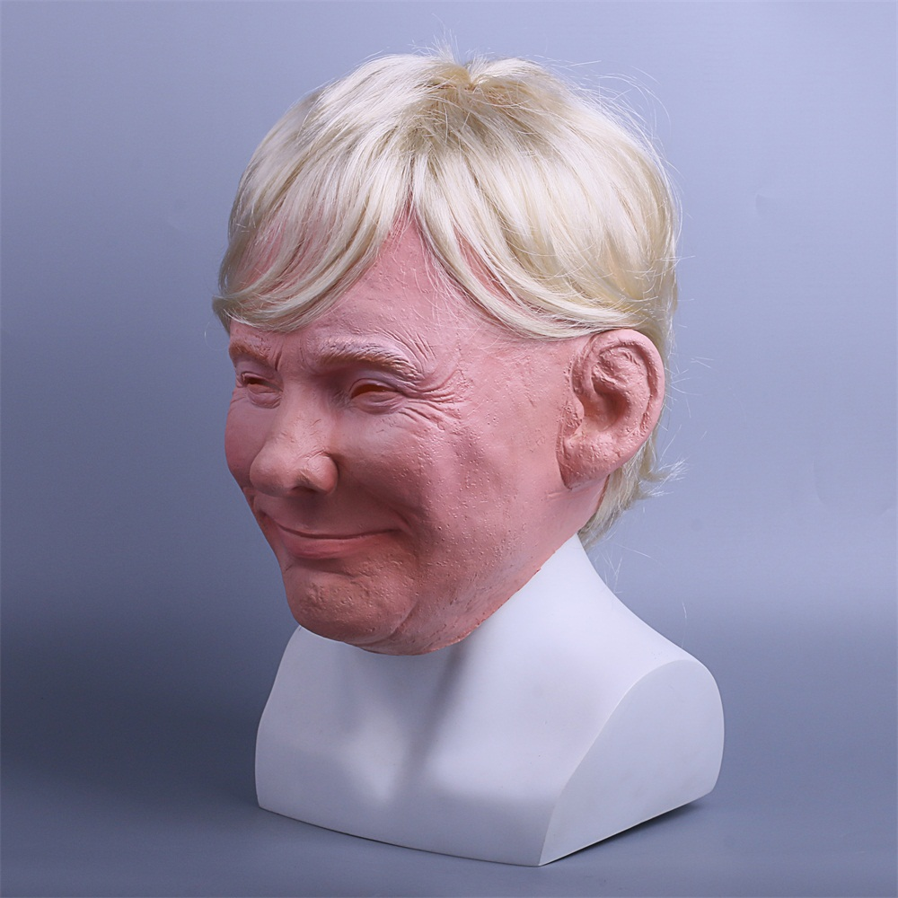 President Trump Mask Realistic Adults Halloween Deluxe Latex Full Head Donald Trump Mask with Hair (8)