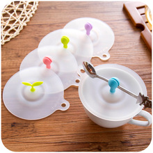 High quality Cute anti-dust Silicone glass cup cover can be fixed a spoon coffee mug suction seal lid cap.