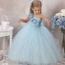 Gorgerous blue girl dress  with flower causal baby girl tutu dress birthday wedding performance kids clothing for girls 2-10Y