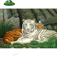 5D DIY Diamond Embroidery White and Brown Tiger 3d Cross Stitch Kits Needlework Full Diamond Mosaic Picture Home Wall Decoration