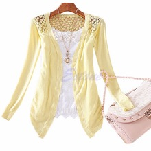 Women Knitted Cardigan Sweater Tops Candy Color Knitwear Hollow Lace sweater Long Sleeve Slim Lace Hollow Out jacket