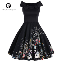Black Robe Rockabilly Women Dress Sleeveless Swan Print Audrey Hepburn 2017 New Summer Pin up 50s Vintage Dresses Party Vestidos