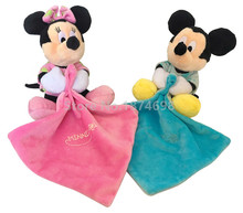Night Luminous Blue Mickey Pink Minnie Baby Snuggle Security Blanket Blankie Blanky Plush Toy Newborn Reassure Towel for Kids(China)