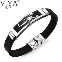 V.YA 20CM PU Leather Bracelets Individuality Stainless Steel Scorpion Bracelet for Men Male Accessories Jewelry(China)