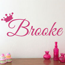 Custom Kids Name Vinyl Wall Decal Princess Crown Customized Art Sticker For Kids Removable Home Decor Decals Self Adhesive ZA592