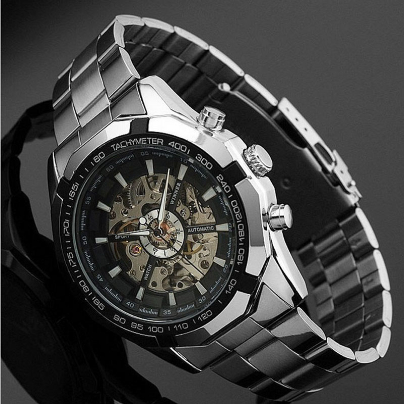 Mens Watches Skeleton Dial Stainless Steel Clock Self-Wind Up Mechanical Automatic Watch wholesale<br><br>Aliexpress