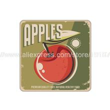 4pcs/set Fruit apple printed custom Home Table  Mat Bakery Creative Decor Wholesale Drink Placemat cork cup coaster
