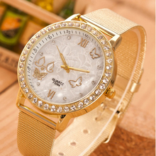 Creative Watch Women Fashion Ladies Crystal Butterfly Gold plated Mesh Band Wrist Watches Girl luxury Casual Quartz Watch(China)