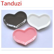 Tanduzi 20pcs Flatback Resin Cabochons Pink/White/Chocolate Heart Shaped Plate For Home Decoration DIY Mini Plates Resin Crafts
