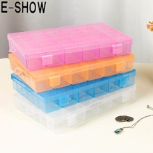 E-SHOW 1pcs 36 Slots Detachable Pill storage Box Adjustable Nail Decoration Case Cosmetic Organizer Compartment Storage