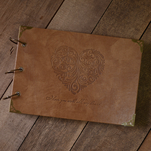 High-grade 29.2*20.2CM wire binding PP bag handmade Valentine gift herb love wedding leather photo albums with 4 color cards(China)