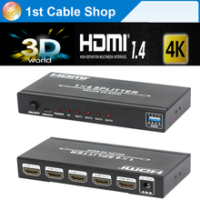 4K HDMI Splitter 1X4 3D,EDID,HDMI 4kX2K resolutions HDMI 1 in 4 out with power adapter