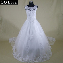 QQ Lover Custom Made Vestido De Noiva  A-Line See Through Back Vestido De Casamento Sexy Wedding Dresses With Train Bridal Gown