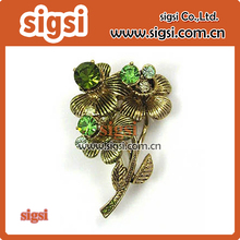 Copper metal supplier wholesale rhinestone brooch for wedding invitation