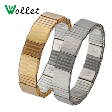 Wollet Jewelry 21 Cm Mens Elastic Magnetic Bangle Health Care Well Energy Balance Stainless Steel Gold Color Bracelet Men