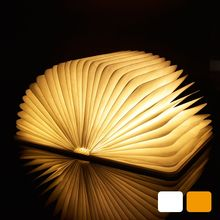 LED Night Light Folding Book Light USB Port Rechargeable Wooden Magnet Cover Home Table Desk Ceiling Decor Lamp White/WarmWhite(China)