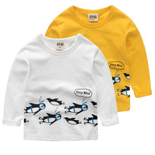 Children clothing penguin T-shirts for girls kids clothes boy t-shirt girls clothes boys Shirts top girl clothing(China)