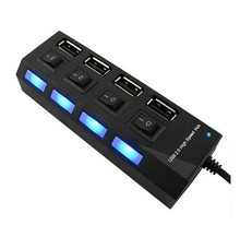 USB HUB black white 4 ports socket style with independent On/Off switches and LED indicators AC adapter supported(China)