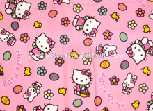 hk507 - 1 Yard Cotton Flannel Fabric - Cartoon Characters, Hello Kitty and Easter Eggs - Pink (W105)