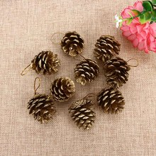 9PCS/Pack Christmas Tree Hanging Balls Gold Natural Pine Cones Baubles Xmas New Year Holiday Party Tree Decorations Ornament