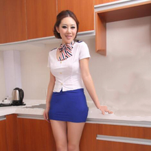 Buy New Fashion Women Lingerie Sexy Erotic Costumes Airline Stewardess Uniform Set Babydoll Underwear Role Play Temptation Uniform