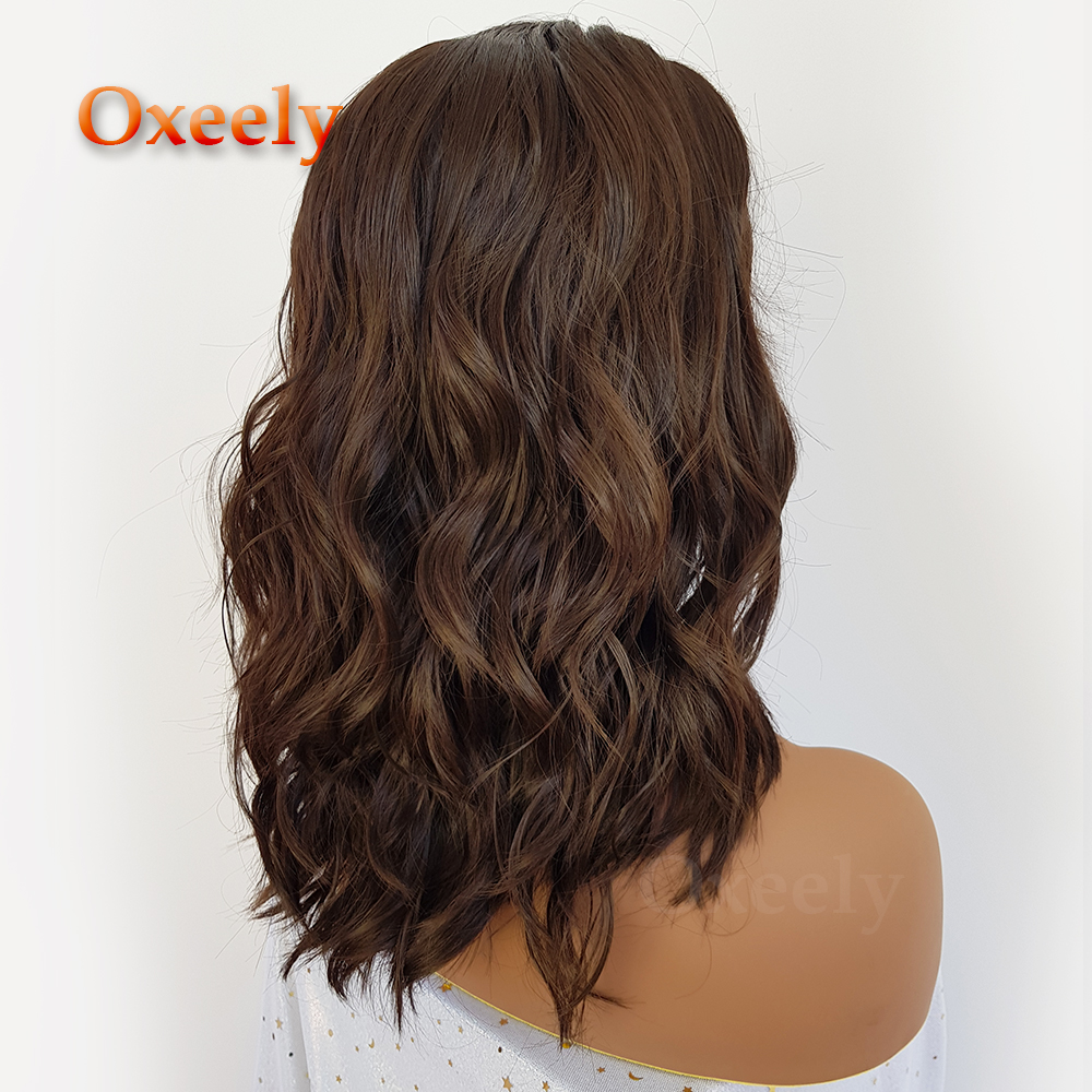 Oxeely Short Wavy Bob Hair Synthetic Lace Front Wigs Brown Color Lob Hair Synthetic Lace Front Wigs for Fashion Women4