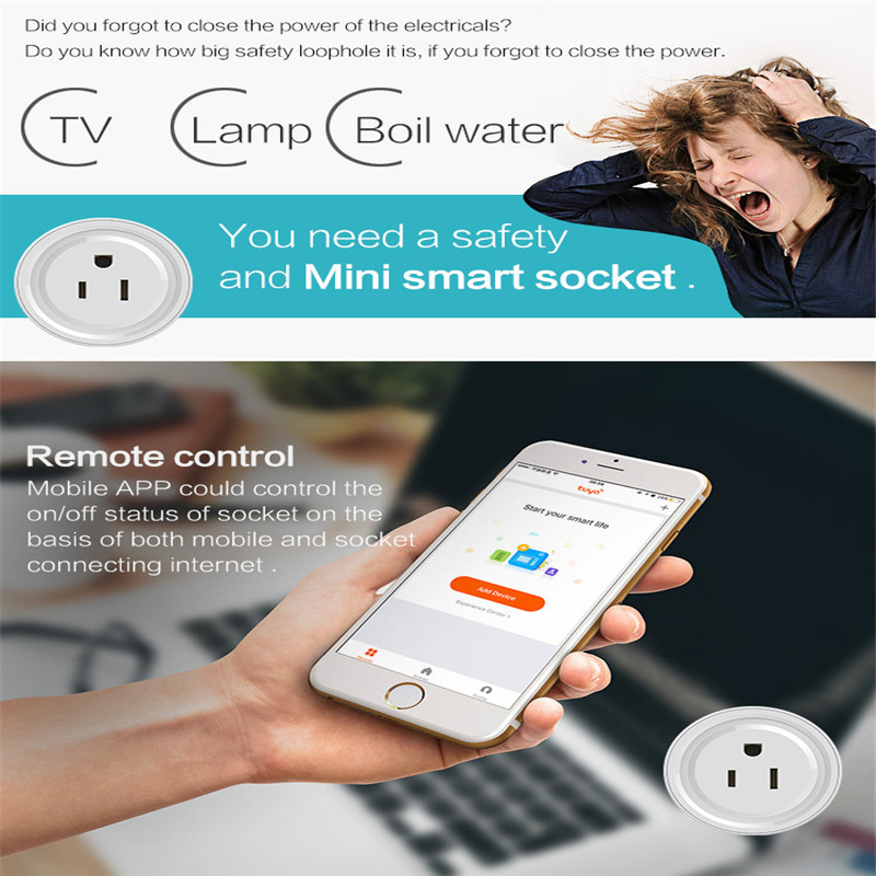 Mini Smart Wifi App Voice Socket US Plug Remote Control Power Strip Timing Switch for Smart Home Automation Electronic System