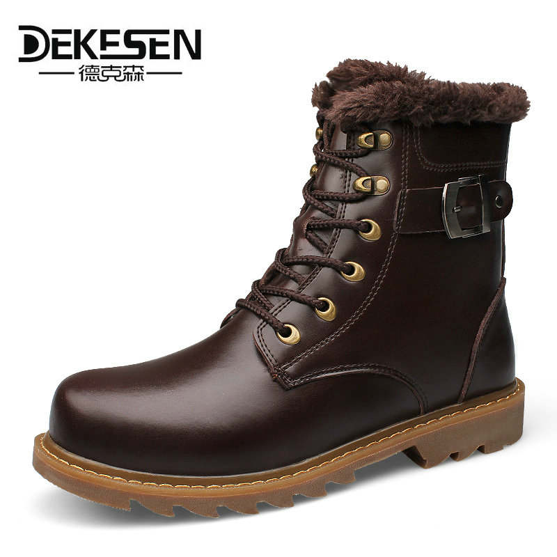 DEKESEN 2017 Men Boots Russian, First Layer Cow Leather Shoes Man, winter Snow Ankle boots, Safety boots Men Plus size 6-12