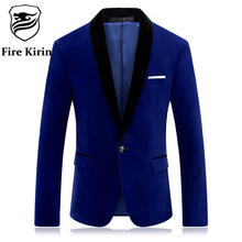 Fire Kirin Brand Red Blue Velour Blazer Men Slim Fit Mens Velvet Blazers Casual Suit Jacket Stylish Prom Stage Clothing Q253