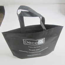 500pcs/lot black custom recycled shopping bag with white print christmas decorations promotional items bags(China)