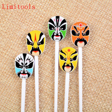 12pcs Traditional Chinese Opera Faces Fruit Fork Cute Cartoon Baby Fork Toothpick Gadgets Dessert Decoration Forks(China)