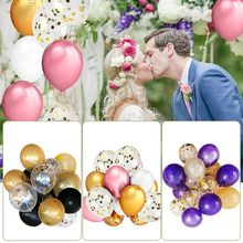 12 inches of confetti balloons 50pcs latex balloons gold pink purple holiday parties wedding room decorations balloons Wedding(China)