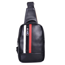 free shipping new fashion brand men's chest bag male chest pack good pu leather striped bolsa famous design wholesale price