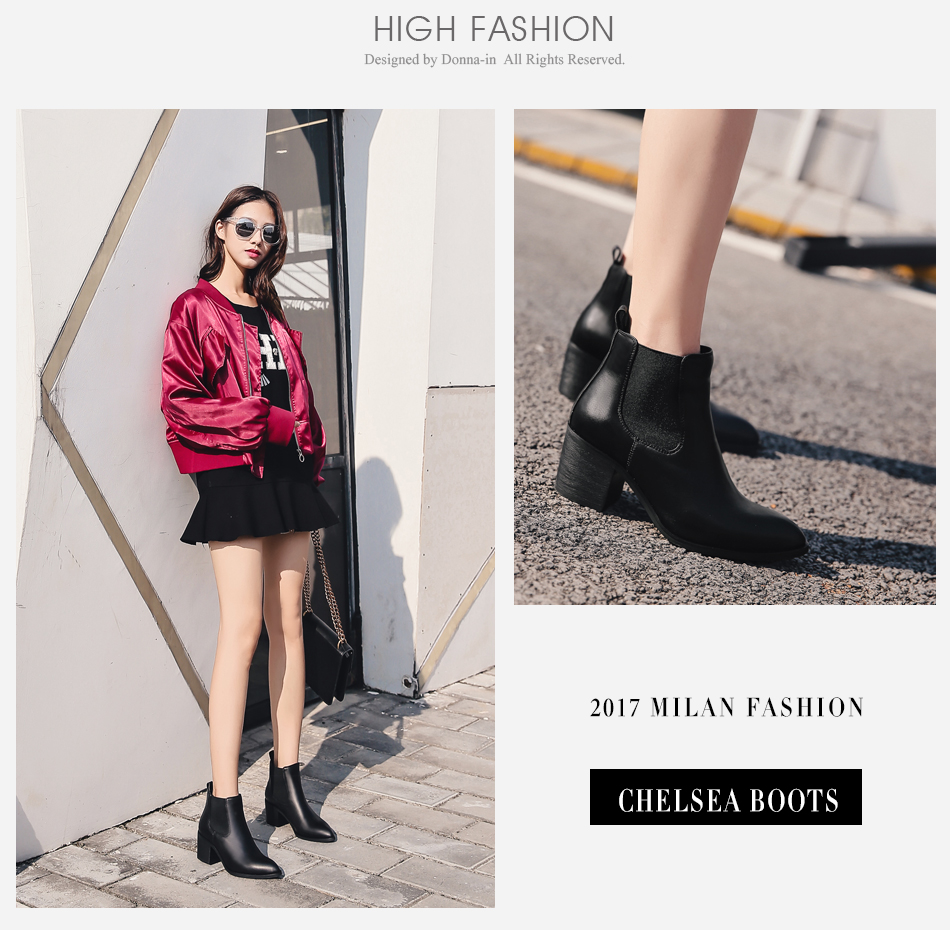 Donna-in 2017 new style genuine leather ankle boots pointed toe thick heel chelsea boots calf leather women boots ladies shoes 96350-17 (3)