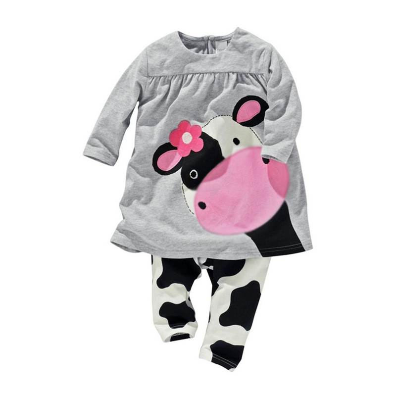 Autumn 2015 Gray Kids Fashion Suit Baby Wear Girls Clothing Sets Tshirt Pants Childrens Clothing Cute Toddler Girl Clothes<br><br>Aliexpress